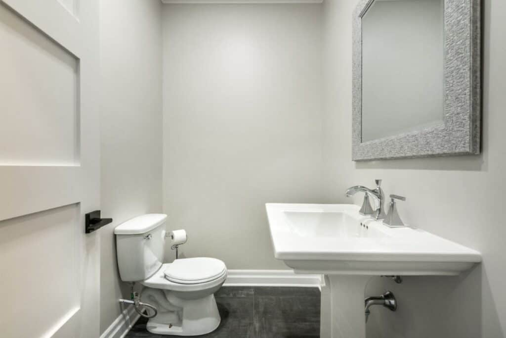 attractive white and gray powder room