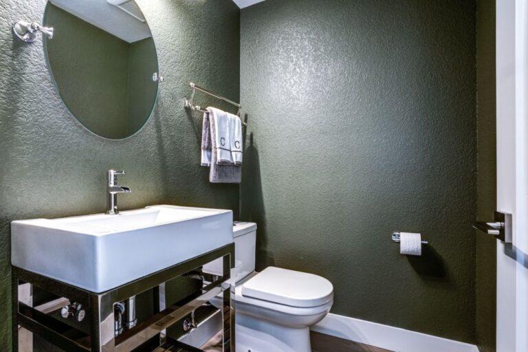dark gray powder room